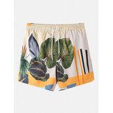 Banggood Designed Mens Casual Plants Leave Print Tropical Drawstring Shorts