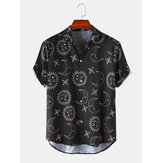 Herren Space Print Turn Down Kragen Kurzarm Shirts