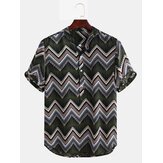 Mens Ethnic Chevron gedruckt Kurzarm Casual Loose Henley Shirts Shirts
