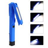LED+COB300LM4modes queue magnétique pliable USB lampe de poche rechargeable lampe de travail lumière mini-torche
