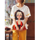 Plus Size Women Fruit Cartoon Print Ruffle Trims Short Sleeve Pajama Sets