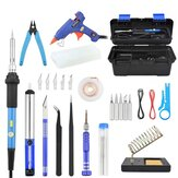Toolour 60W Electric Soldering Iron Kit 110V/220V Switch Adjustable Temperature with Toolbox