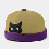 Banggood Design Men Cotton Contrast Color Cute Kitty Cat Pattern Casual Landlord Cap Skull Cap Beanie Hat
