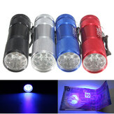385nm 9 LED Mini Aluminium UV Ultra Violet Detection Lamp Blacklight LED AAA Mini latarka