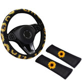 38cm Car Steering Wheel Covers Protector Glove Plush Sunflower + Shoulder Sleeves