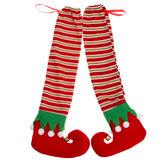 2 peças de mesa de natal para pernas capa elfo cadeira de jantar capa de pé de natal botas para cadeira pés capa deslizante decoração de móveis de escritório em casa ornamento