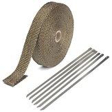 25mmx15m Abwärme Wrap Isolationsdichtband Titan Glasfaser mit 6 Stainless Krawatten