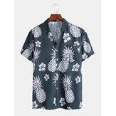 قمصان رجالي بطباعة أناناس الصدر وجيب تنفس قصيرة الأكمام