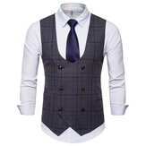 Fashion Business Plaid Vest Suit Vest voor Heren