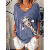 Giraffe Print V-neck Women Casual Loose Blouse