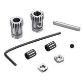 1Set Prusa i3 MK2 / MK3 Cloned Btech Dual Gears DIY Kit de polea de acero para engranajes de impresora 3D Parte de la rueda de extrusión