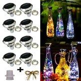 8 Pack Solar Wijnfles Kurk Lichten 2M 20 LEDs Koperdraad Fairy Guirlande Lichtslingers voor Xmas Wedding Party Art Decor Lamp