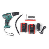 Cordless Brushless Hammer Impact Drill Driver High/Low Speed 2 Battery Set