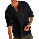 Hombres vendimia Casual Loose Color sólido Tops camisetas