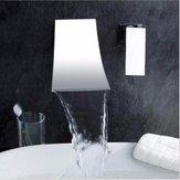 Wall Mount Waterfall Mixer Tap Chrome Bathroom Sink Faucet Modern Basin Brass