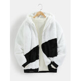 Mens Zip Front Contrast Fluffy Plush Warm Casual Hooded Jacket
