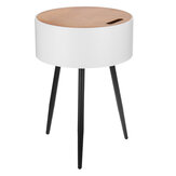 Round Side Table Coffee Tea Table Detachable Bedside Cabinets With Storage Compartment Organizer Racks for Living Room Bedroom