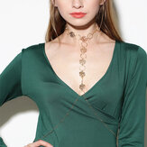 Sexy Hollow Rose Metal Body Chain Elegant Long Necklace Party Jewelry