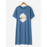 Plus Size Women Daisy & Letter Print Breathable Short Sleeve Nightgowns