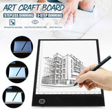 A5 Size USB 3-Stage Dimming / Stepless Dimming Intelligent Touch LED Illuminated Tracing Light Box Copy Drawing Board Pad Table
