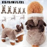 ペット犬の猫エルク衣装冬の服パピースーツクリスマスパーティードレスコスプレ