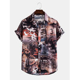 Mens Casual Landscape Print Multi Pattern Turn Down Col Chemises
