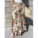 Pierna ancha informal plisada con cintura elástica y estampado floral para mujer Pantalones con bolsillo