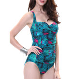 Sexy Floral Printed Wireless Backless Elastic Ruffle Adjustable Straps One-Pieces Beachwear
