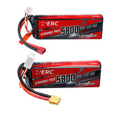 SUNPADOW ERC 7.4V 5800mAh 100C 2S Lipo Battery T/XT60 Plug With Battery Strap for RC Car