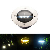 Outdoor Solar Light 3 LED Stainless Steel Buried Ground Floor Garden Lawn Landscape Lamp