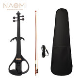 NAOMI полный размер 4/4 из цельного дерева Бесшумный электрическая скрипка, кленовый корпус, черное дерево, колышки для грифа, упор для подборо