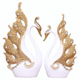 Couple Swan Ornament House Decorations Accessories Living Room TV Cabinet Wedding Gifts