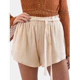 Women Summer Home Ruffle Elastic Waist Wild Casual Shorts with Belt
