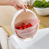 Double Layer Round Drain Basket Kitchen Bracket For Washing Fruit Vegetable Basket