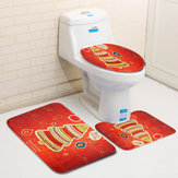 3PCS Christmas Home Decoration Santa Snowman Bathroom Toilet Seat Covers Mat Set