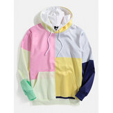 Mens Color Block Long Sleeve Kangaroo Pocket Design Hoodies