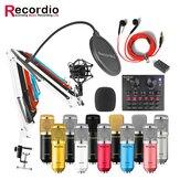GAM-800W Microfone Condensador Kit de Microfone para Gravação de Som com Placa de Som V8 Para Rádio Braodcasting Canto Gravação KTV Karaokê Microfone