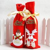 1pcs/bagSantaClausmuñeco de nieve Little Bear y ciervo rojo Bolsa botella de vino regalo Bolsa decoración para el año nuevo