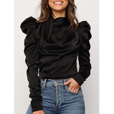 Women Solid Color Satin Tie Neck Casual Gigot Sleeve OL Blouses