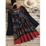 Ethnic Women Vintage Folk Style Print Long Sleeve Blouse