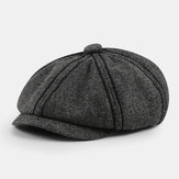 Men Retro Twill British Style Autumn Winter Keep Warm Octagonal Hat Newsboy Hat