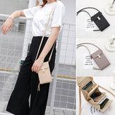 Femmes extérieure grande capacité PU sac à bandoulière en cuir Sac à bandoulière porte-monnaie Zipper Wallet pour téléphone mobile
