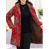 Winter Fleece Thicken Print Hooded Jassen