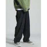 Mens Corduroy Drawstring Loose Adjustable Cuff Pants With Draw Cords