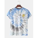 メンズタイダイスマイルフェイスプリントルーズカジュアルラウンドネックTシャツ