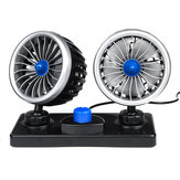 12V/24V Electric Van Car Dual Head Cooling 360° Oscillating Dashboard Air Fan