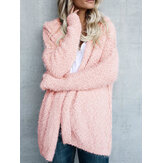 Kobiety Fuzzy Solid Color Hooded Outwear Coats