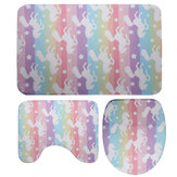 3Pcs /Set Washable Anti-Slip Bathroom Mats Set Shower Floor Toilet Rug Carpet Unicorn