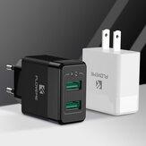 Adaptador de carregador USB FLOVEME 12W Carregador de parede USB duplo Carregamento rápido EU Plug US Plug para iPhone XS 11 Pro Max Note 9S Poco X2