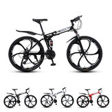MYNUO 26 Inch 21-Speed Folding Mountain Bike Double Disc Brakes Double Shock Absorber Off-road Bike Outdoor Sport Bicycle